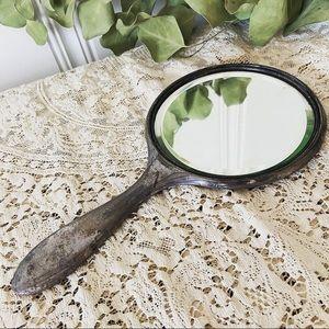 The Homan MFG • Antique Silver Plated Hand Mirror